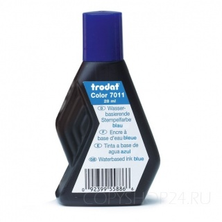 Штемпельная краска TRODAT 7011 на водной основе, синяя, 28мл.