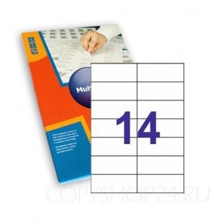 САМОКЛЕЮЩАЯСЯ БУМАГА 105х42,4 мм для принтера 14 этикеток на листе А4 Multi Label