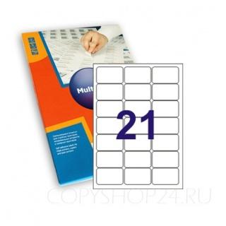 САМОКЛЕЮЩАЯСЯ БУМАГА 63,5х38,1 мм для принтера 21 этикетка на листе А4 Multi Label