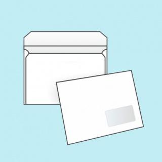 Белый офсет, 90 гр/м2, Прямой клапан, Декстрин, С окном, Повышенной плотности