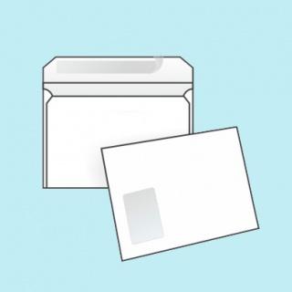 Белый офсет, 90 гр/м2, Прямой клапан, Лента, С окном, Повышенной плотности