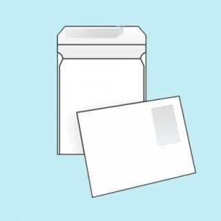 Белый офсет, 100 гр/м2, Прямой клапан, Лента, С окном, Повышенной плотности, Клапан по короткой стороне