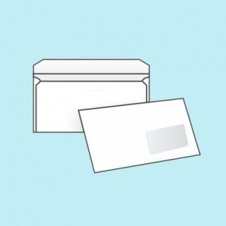 Белый офсет, 80 гр/м2, Прямой клапан, Декстрин, С окном