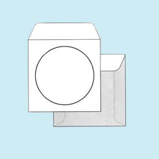 Белый офсет, 80 гр/м2, Прямой клапан, Декстрин, С окном, Квадратные